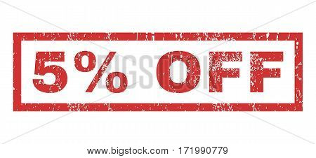 5 Percent Off text rubber seal stamp watermark. Caption inside rectangular banner with grunge design and dirty texture. Horizontal vector red ink sign on a white background.