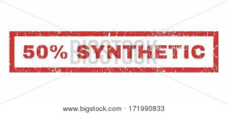 50 Percent Synthetic text rubber seal stamp watermark. Caption inside rectangular shape with grunge design and dirty texture. Horizontal vector red ink sticker on a white background.