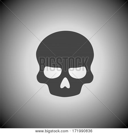 Simple Black Skull icon on gray background