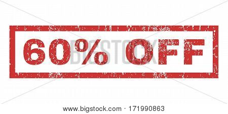 60 Percent Off text rubber seal stamp watermark. Caption inside rectangular shape with grunge design and dirty texture. Horizontal vector red ink emblem on a white background.