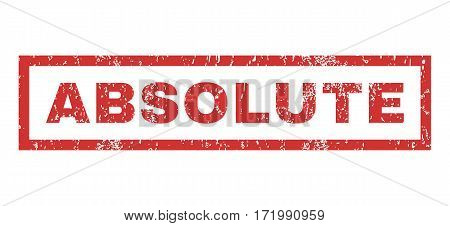 Absolute text rubber seal stamp watermark. Tag inside rectangular banner with grunge design and unclean texture. Horizontal vector red ink sticker on a white background.