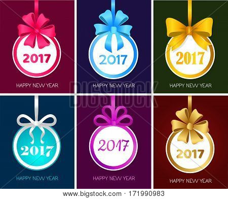 Happy New Year 2017 round Christmas toy with ribbons, big bows. Set collection of xmas banners. Christmas tree decoration. For greeting card, poster. Cartoon design. Flat style. Vector illustration