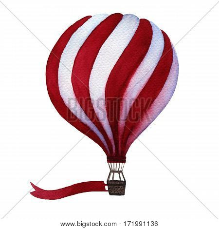 Watercolor hot air balloon with flag. Illustration isolated on white background. Celebration festive background with balloon. Perfect for invitations, posters and cards