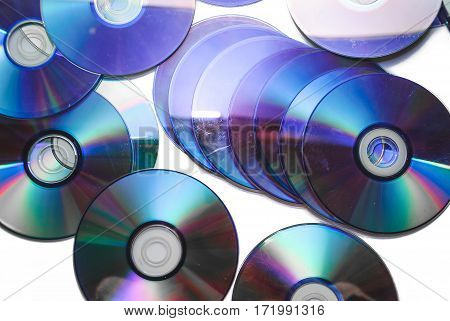 The photo of old cd on white background