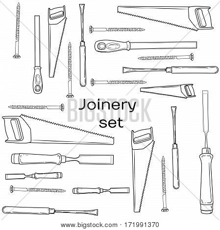 Joinery icons set.  Woodworking tools of antique joinery - Craft Woodwork Screwdriver Table Hammer, Carpenter.