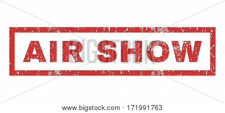 Air Show text rubber seal stamp watermark. Tag inside rectangular shape with grunge design and scratched texture. Horizontal vector red ink sticker on a white background.