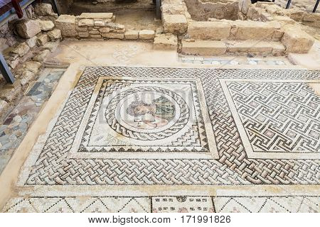 Roman mosaics at the archaeological remains of Kourion city-kingdom destroyed in a severe earthquake in 365 AD.