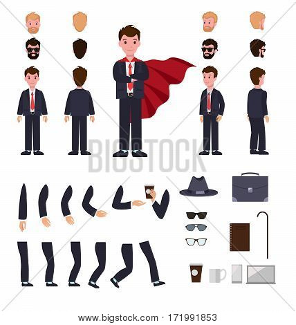 Man in suit with mantle. Character creation set. Different faces, various views of person. Bended hands, legs. Hat, stick, glasses, cup, notebook. Build your own design. Simple cartoon style Vector