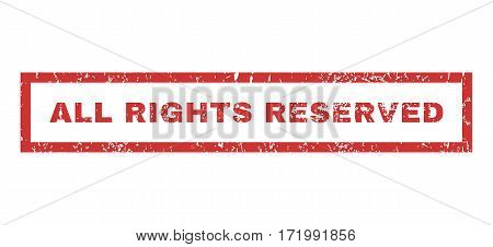 All Rights Reserved text rubber seal stamp watermark. Caption inside rectangular banner with grunge design and unclean texture. Horizontal vector red ink sticker on a white background.
