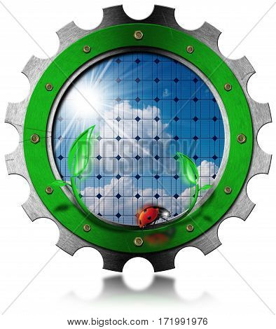 Solar Energy - 3d Illustration of a metallic gear with a solar panel inside. Isolated on white background