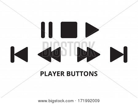 Player buttons with rounded corner. Vector illustration.