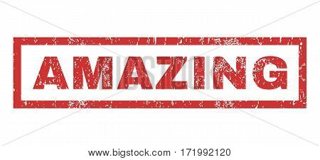 Amazing text rubber seal stamp watermark. Tag inside rectangular banner with grunge design and dust texture. Horizontal vector red ink emblem on a white background.