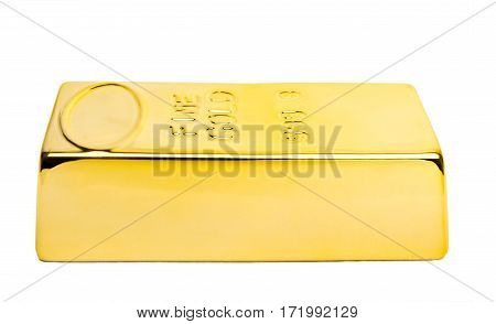 Gold bar isolated white background high quality and high resolution studio shoot