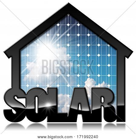 3D illustration of a black solar house with a solar panel inside with blue sky clouds and sun rays. Isolated on white background