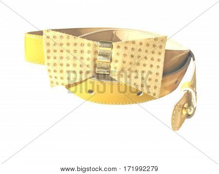 yellow belt wth a bow on white background