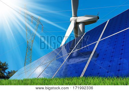Group of solar panels with a wind turbine and a power line on a clear blue sky with sun rays. Solar and wind energy
