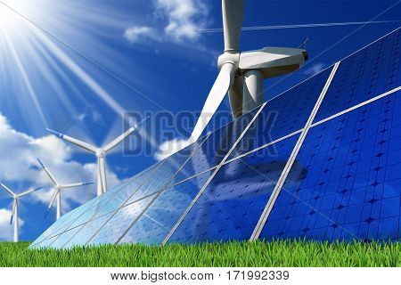 Group of solar panels and wind turbines on a blue sky with clouds and sun rays. Solar and wind energy