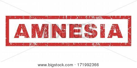 Amnesia text rubber seal stamp watermark. Caption inside rectangular shape with grunge design and unclean texture. Horizontal vector red ink sticker on a white background.