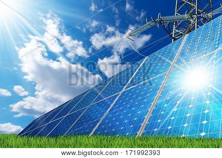 Group of solar panels on a blue sky with clouds and an electricity pylon with a power line - Solar energy concept