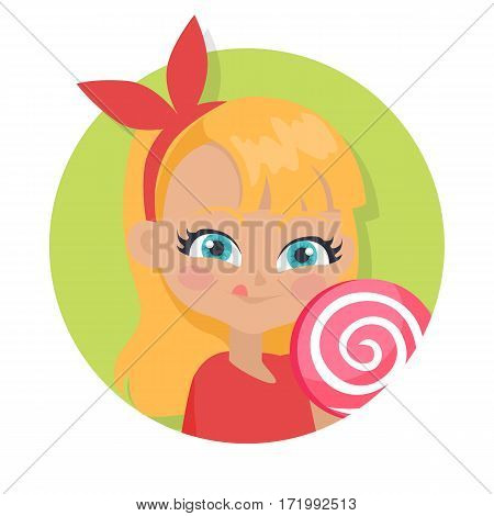 Girl with long hair and red bow on head suck candy. Portrait of nice female person with blue eyes. Red blouse. Big lollipop. Cartoon style. Kindergarten concept. Flat design. Vector illustration