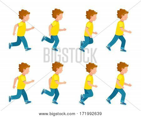 Kid running animation set. Boy in motion. Collection of running boy icons. Animation sprite asset. Sport. Run. Blue trousers, yellow t-shirt. Variety of sport movements. Flat cartoon style. Vector