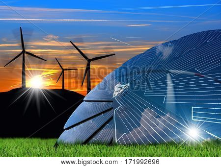 Wind and Solar Energy Concept - 3D illustration of a group of wind turbines at sunset and a solar panel on a green grass with blue sky clouds and sun rays