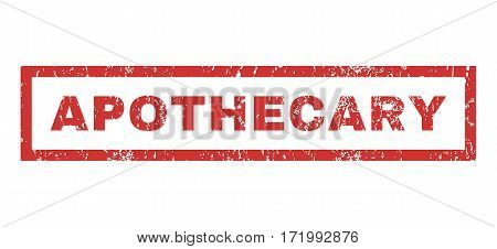 Apothecary text rubber seal stamp watermark. Caption inside rectangular shape with grunge design and dirty texture. Horizontal vector red ink sticker on a white background.