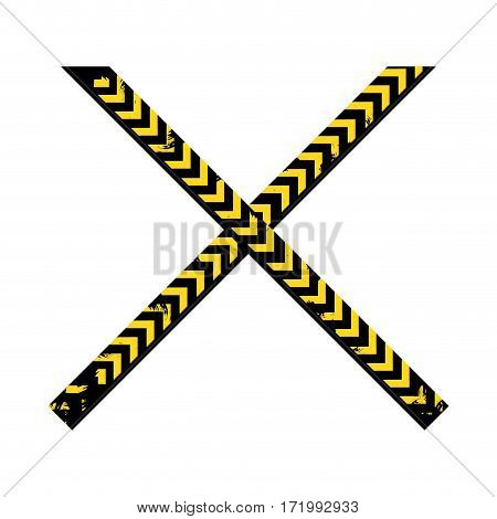 color silhouette with police line tape crossed vector illustration