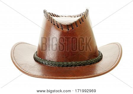 leather cowboy hat isolated on white background