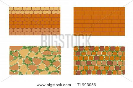 Different types of masonry. The patterns of brickwork with green grass on white background . Vector illustration. Horizontal location.