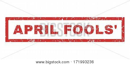 April Fools text rubber seal stamp watermark. Caption inside rectangular banner with grunge design and dirty texture. Horizontal vector red ink emblem on a white background.