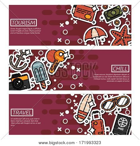 Set of Horizontal Banners about tourism. Vector illustration, EPS 10