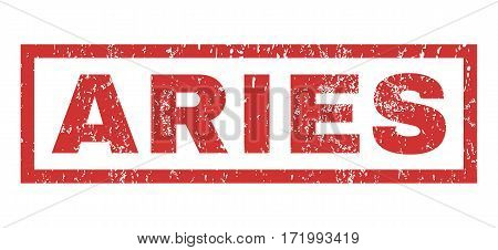 Aries text rubber seal stamp watermark. Tag inside rectangular banner with grunge design and scratched texture. Horizontal vector red ink emblem on a white background.