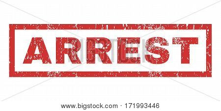 Arrest text rubber seal stamp watermark. Tag inside rectangular banner with grunge design and unclean texture. Horizontal vector red ink emblem on a white background.