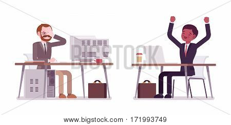 Young happy and aged unhappy businessmen sitting at the office desk, working at the computers, old and modern device, rear and front view, isolated against white background