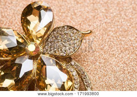 Golden Flower Shaped Brooch