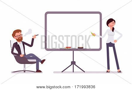 Happy male handsome manager sitting relaxed in the armchair and vaping, attractive woman pointing to the empty board, presentation in the office, copy space, full length, isolated, white background