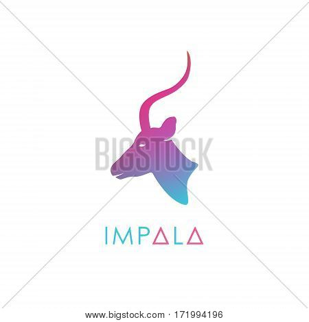 Artistic stylized antelope logotype. Silhouette wild animals. Creative colorful logo design. Vector illustration.