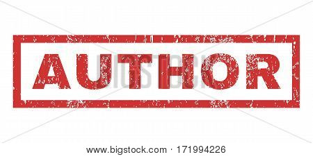 Author text rubber seal stamp watermark. Tag inside rectangular shape with grunge design and scratched texture. Horizontal vector red ink emblem on a white background.