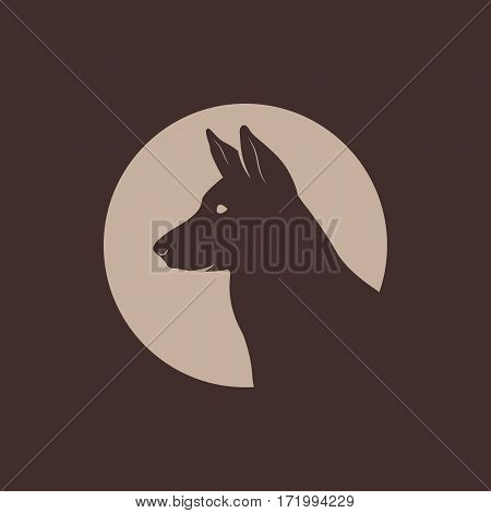 German Shepherd Head Silhouette logo. Vector illustration.