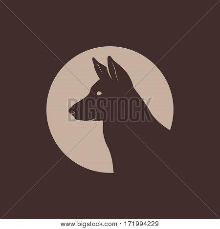 German Shepherd Head Silhouette logo. Vector illustration.
