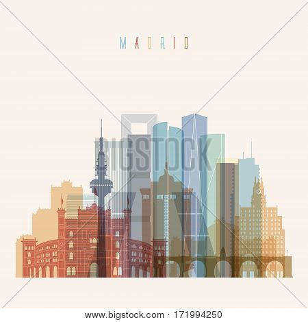 Transparent style Madrid skyline detailed silhouette. Trendy vector illustration.