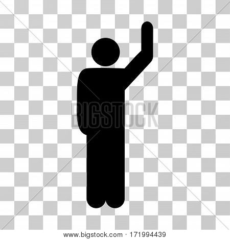 Hitchhike Pose vector icon. Illustration style is a flat iconic black symbol on a transparent background.