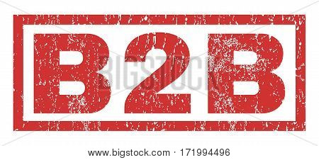 B2B text rubber seal stamp watermark. Caption inside rectangular banner with grunge design and dirty texture. Horizontal vector red ink emblem on a white background.