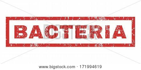 Bacteria text rubber seal stamp watermark. Caption inside rectangular shape with grunge design and dust texture. Horizontal vector red ink sign on a white background.