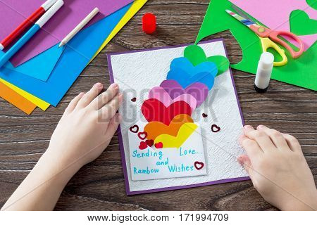 Birthday, Mother's Day Or Valentine Background. Greeting Card With Paper Rainbow Hearts, Sending Lov