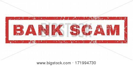 Bank Scam text rubber seal stamp watermark. Tag inside rectangular banner with grunge design and unclean texture. Horizontal vector red ink emblem on a white background.