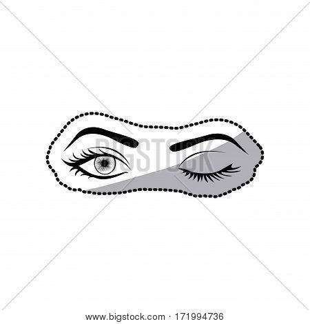 sticker black silhouette Winking woman's eyes vector illustration
