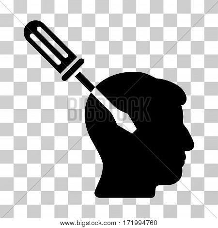 Intellect Screwdriver Tuning vector pictograph. Illustration style is a flat iconic black symbol on a transparent background.