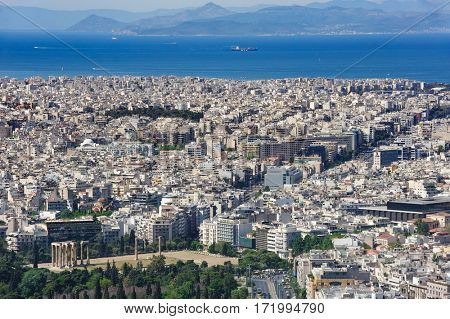 Athens Greece - April 27, 2016: Famous view from Lycabettus hill to modern city and sea at background